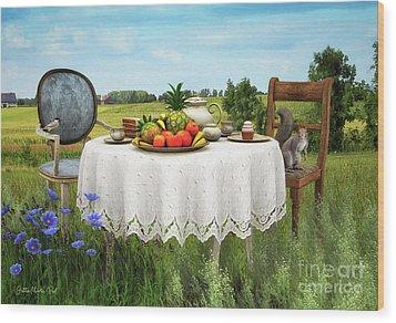 Wood Print featuring the digital art Tea For Two by Jutta Maria Pusl