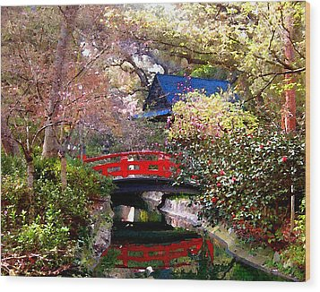 Tea Garden Wood Print by Timothy Bulone