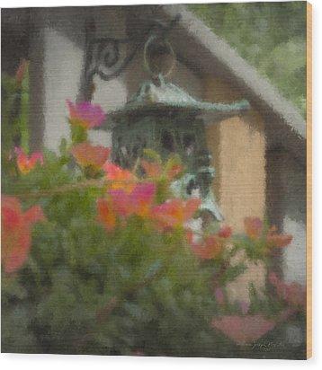Tea Lantern And Portulaca Wood Print