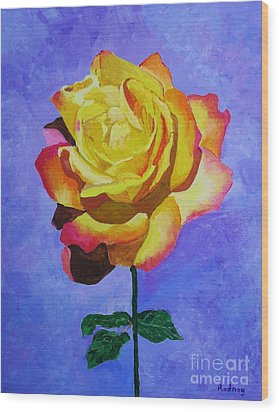 Wood Print featuring the painting Tea Rose by Rodney Campbell