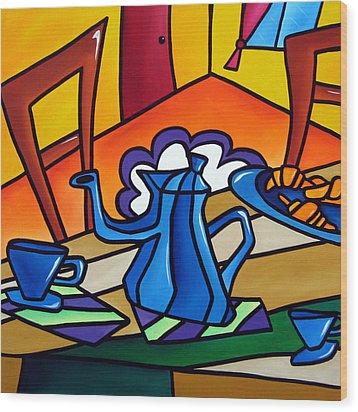 Tea Time - Abstract Pop Art By Fidostudio Wood Print by Tom Fedro - Fidostudio