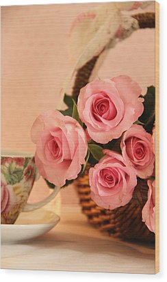 Tea Time Roses Wood Print by Taschja Hattingh