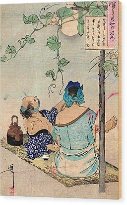 Tea Under The Moon Wood Print by Padre Art