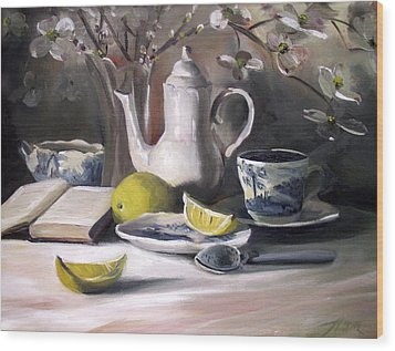 Wood Print featuring the painting Tea With Lemon by Nancy Griswold