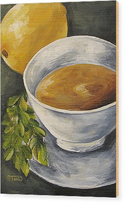 Tea With Mint And Lemon Wood Print by Torrie Smiley