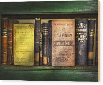 Teacher - Books You Use In School  Wood Print by Mike Savad