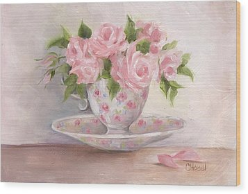 Teacup And Saucer Rose Shabby Chic Painting Wood Print by Chris Hobel