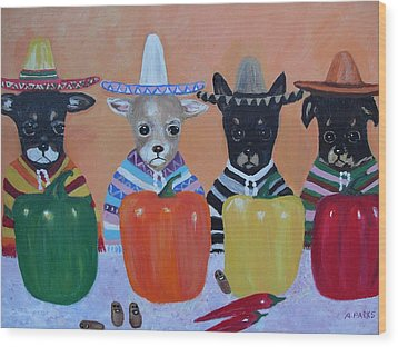 Teacup Chihuahuas In Mexico Wood Print by Aleta Parks
