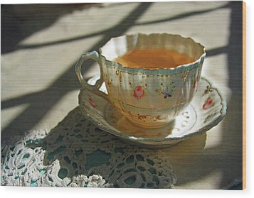 Wood Print featuring the photograph Teacup On Lace by Brooke T Ryan