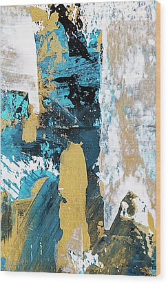Wood Print featuring the painting Teal Abstract by Christina Rollo