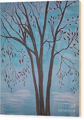 Wood Print featuring the painting Teal And Brown by Leslie Allen