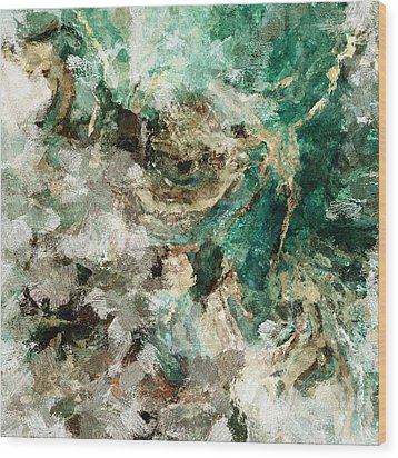 Wood Print featuring the painting Teal And Cream Abstract Painting by Ayse Deniz