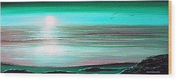 Teal Panoramic Sunset Wood Print by Gina De Gorna