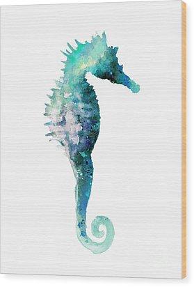 Teal Seahorse Nursery Art Print Wood Print by Joanna Szmerdt