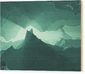 Teal Surreal Wood Print