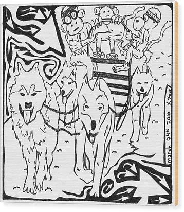 Team Of Monkeys Dog Sled Maze Wood Print by Yonatan Frimer Maze Artist