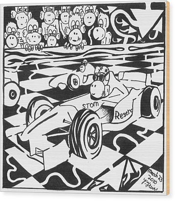 Team Of Monkeys Go Kart Race Wood Print by Yonatan Frimer Maze Artist