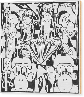 Team Of Monkeys Guarding The Crystal Maze Wood Print by Yonatan Frimer Maze Artist
