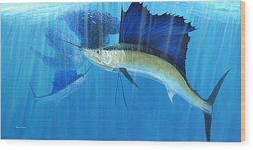 Teamwork Sailfish Wood Print