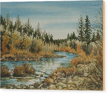 Teanoway River Wa Wood Print