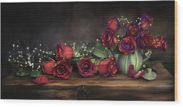 Wood Print featuring the digital art Teapot Roses by Susan Kinney
