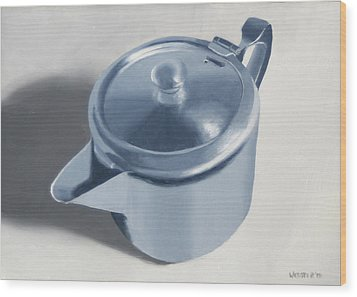 Teapot Still Life Oil Painting Wood Print by Mark Webster
