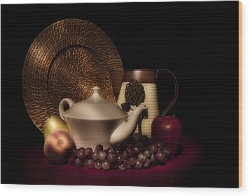 Teapot With Fruit Still Life Wood Print by Tom Mc Nemar