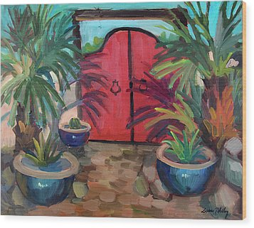 Wood Print featuring the painting Tecate Garden Gate by Diane McClary