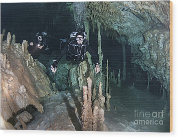 Technical Divers In Dreamgate Cave Wood Print by Karen Doody