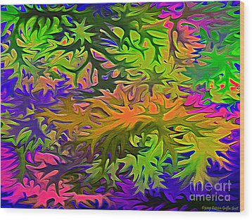 Technicolor Leaves Wood Print by Patricia Griffin Brett