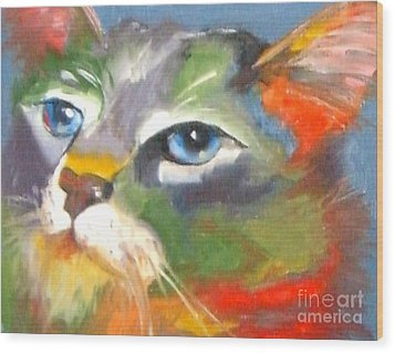 Technicolor Tabby Wood Print by Susan A Becker