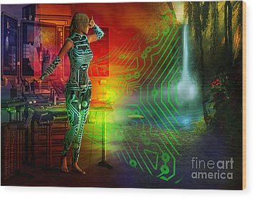 Wood Print featuring the digital art Techno Future by Shadowlea Is