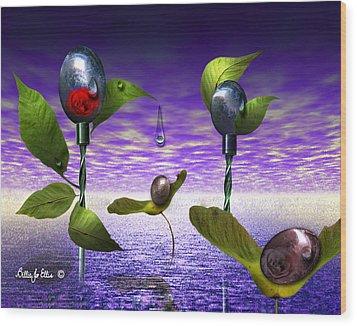 Techno Nature - Flower Drills Wood Print by Billie Jo Ellis