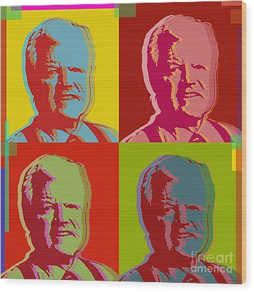 Wood Print featuring the digital art Ted Kennedy by Jean luc Comperat