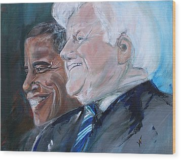 Teddy And Barack Wood Print by Valerie Wolf