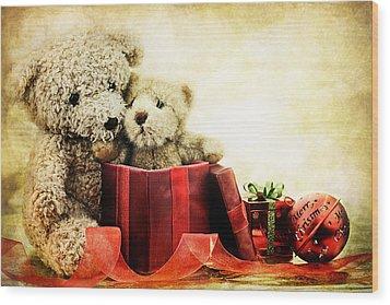 Teddy Bear Christmas Wood Print by Stephanie Frey