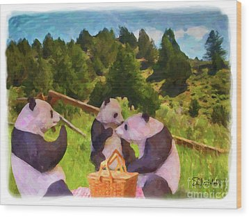 Teddy Bear Picnic Wood Print