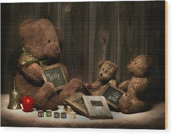 Teddy Bear School Wood Print by Tom Mc Nemar
