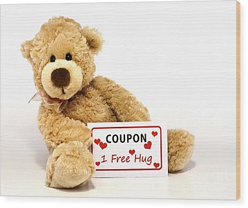 Teddy Bear With Hug Coupon Wood Print by Blink Images