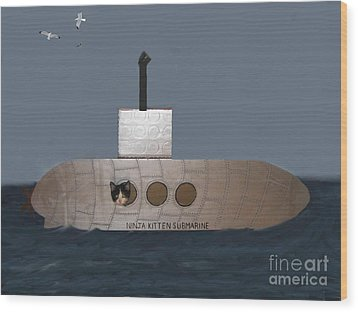 Teddy In Submarine Wood Print by Reb Frost