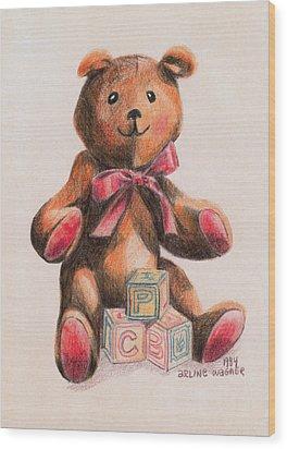 Teddy With Blocks Wood Print by Arline Wagner