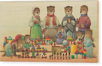 Teddybears And Bears Christmas Wood Print by Kestutis Kasparavicius