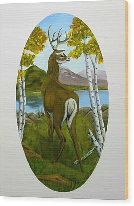 Wood Print featuring the painting Teddy's Deer by Sheri Keith