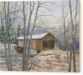Teegarden Covered Bridge In Winter Wood Print by Lois Mountz