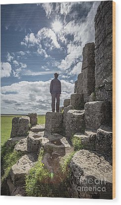 Wood Print featuring the photograph Teen Boy Standing On Basalt Rocks by Edward Fielding