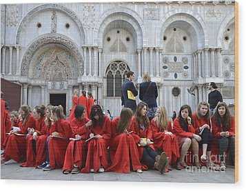 Teenager Girls From A Uk Choral Group Waiting Outside St Mark Basilica In Venice Wood Print by Sami Sarkis