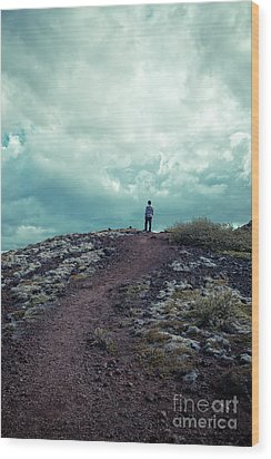 Wood Print featuring the photograph Teenager On A Hiking Trail In Iceland by Edward Fielding