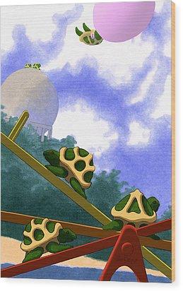 Teeter Wood Print by Tom Dickson