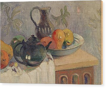 Teiera Brocca E Frutta Wood Print by Paul Gauguin