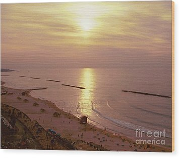 Tel Aviv Beach Morning Wood Print